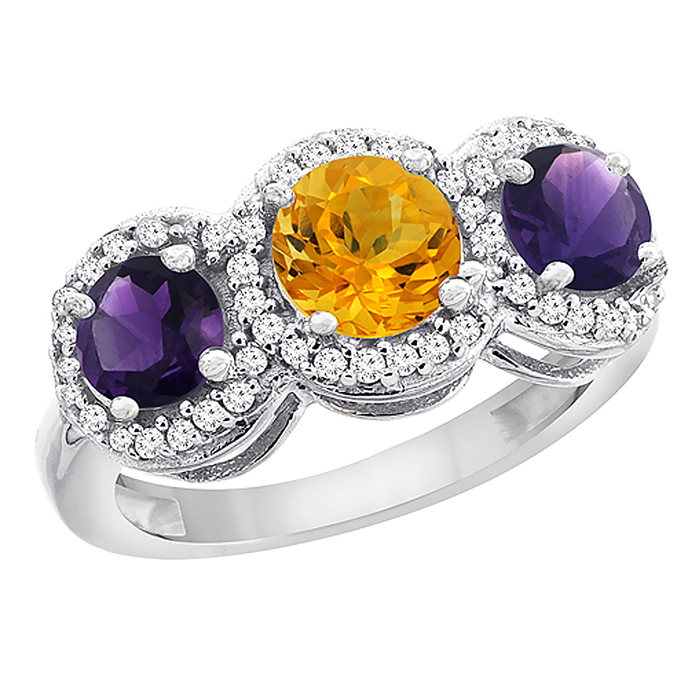 14K White Gold Natural Citrine & Amethyst Sides Round 3-stone Ring Diamond Accents, sizes 5 - 10