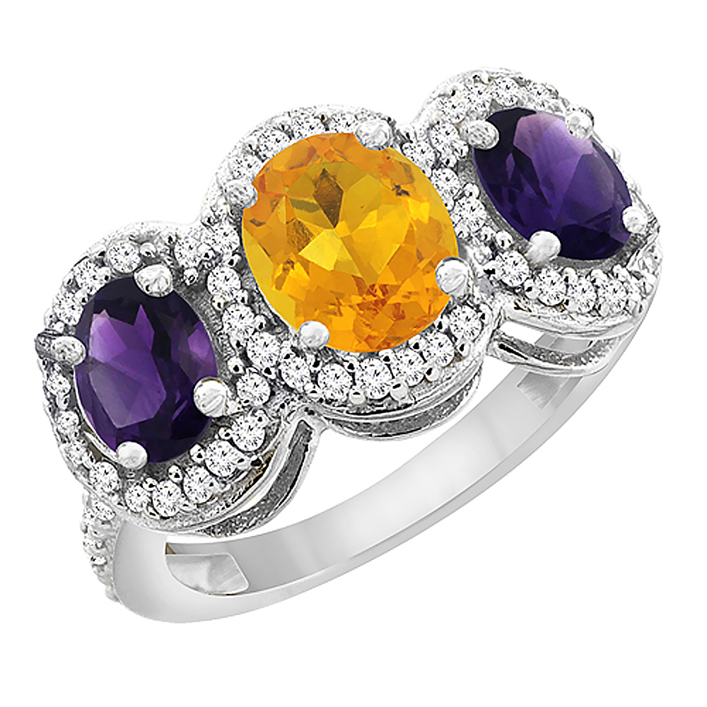 14K White Gold Natural Citrine & Amethyst 3-Stone Ring Oval Diamond Accent, sizes 5 - 10
