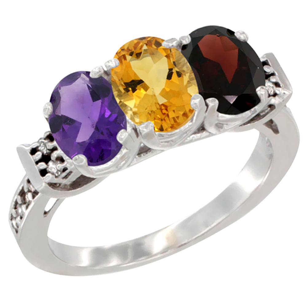14K White Gold Natural Amethyst, Citrine & Garnet Ring 3-Stone 7x5 mm Oval Diamond Accent, sizes 5 - 10