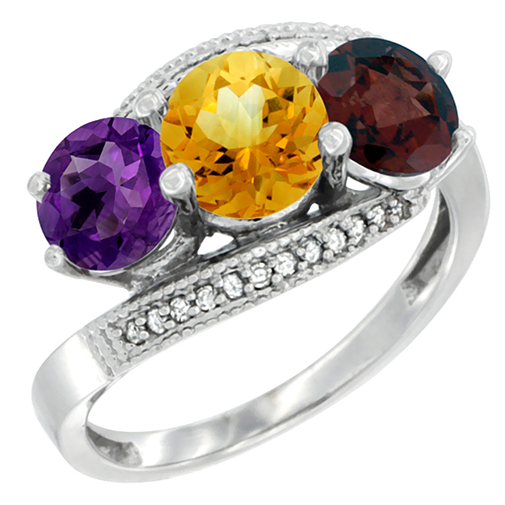 10K White Gold Natural Amethyst, Citrine & Garnet 3 stone Ring Round 6mm Diamond Accent, sizes 5 - 10