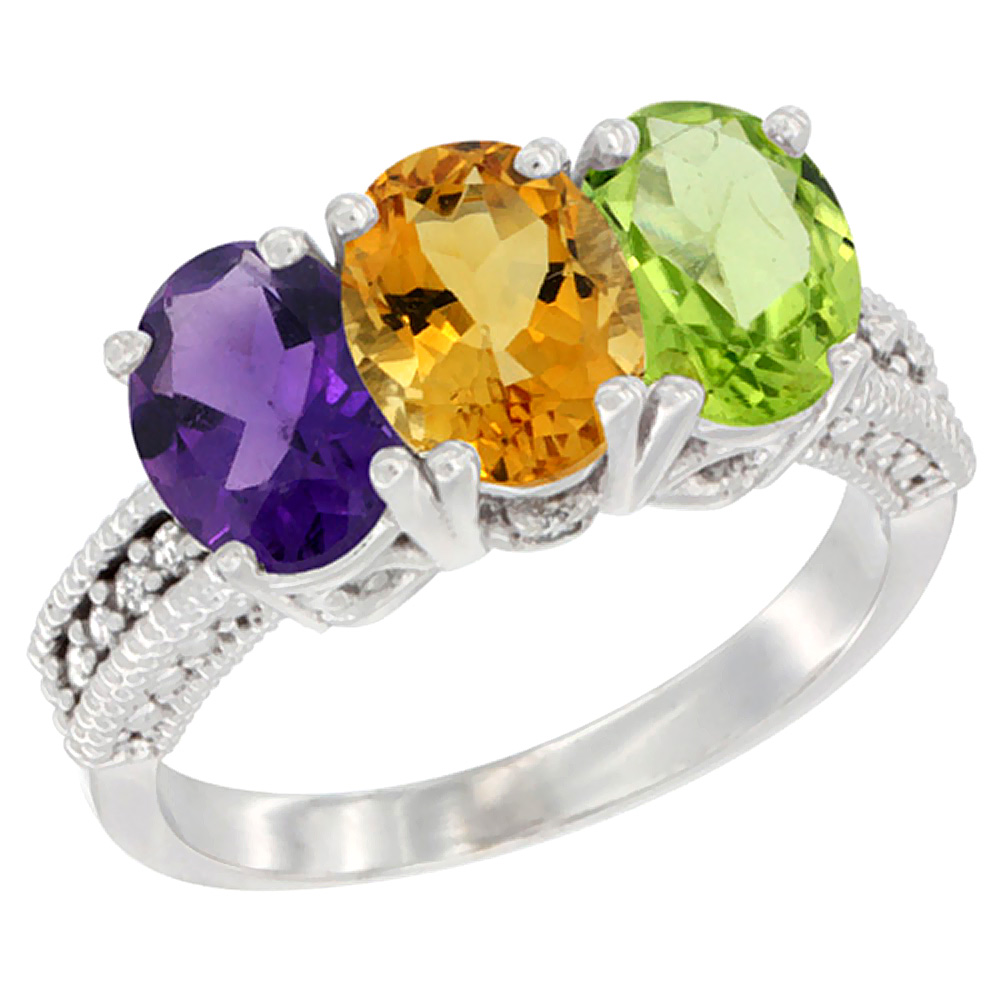 10K White Gold Natural Amethyst, Citrine & Peridot Ring 3-Stone Oval 7x5 mm Diamond Accent, sizes 5 - 10