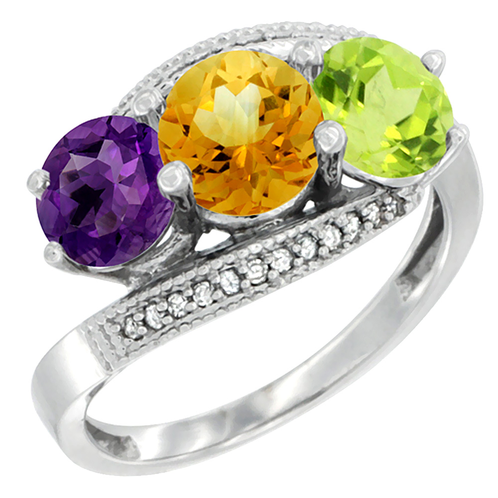 10K White Gold Natural Amethyst, Citrine & Peridot 3 stone Ring Round 6mm Diamond Accent, sizes 5 - 10