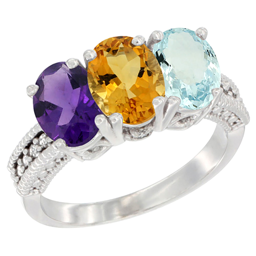 10K White Gold Natural Amethyst, Citrine & Aquamarine Ring 3-Stone Oval 7x5 mm Diamond Accent, sizes 5 - 10