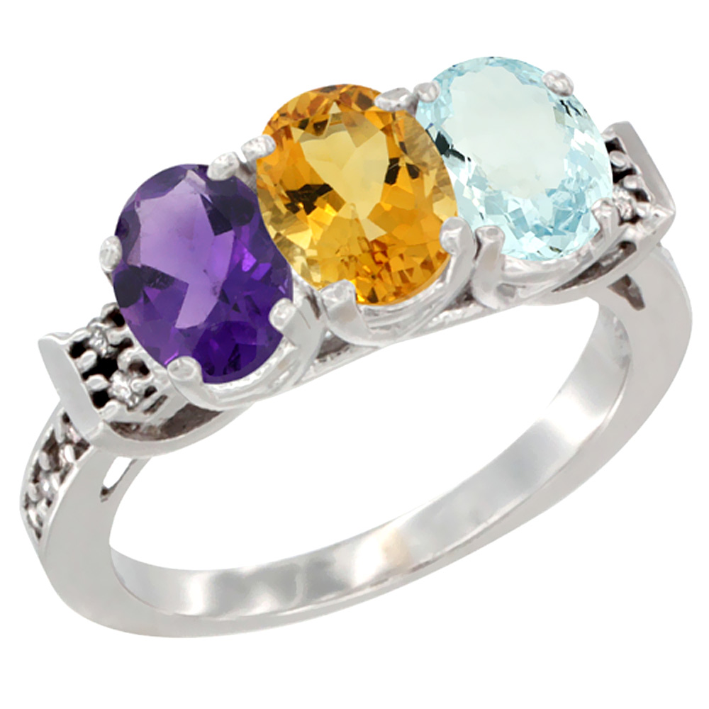 14K White Gold Natural Amethyst, Citrine & Aquamarine Ring 3-Stone 7x5 mm Oval Diamond Accent, sizes 5 - 10