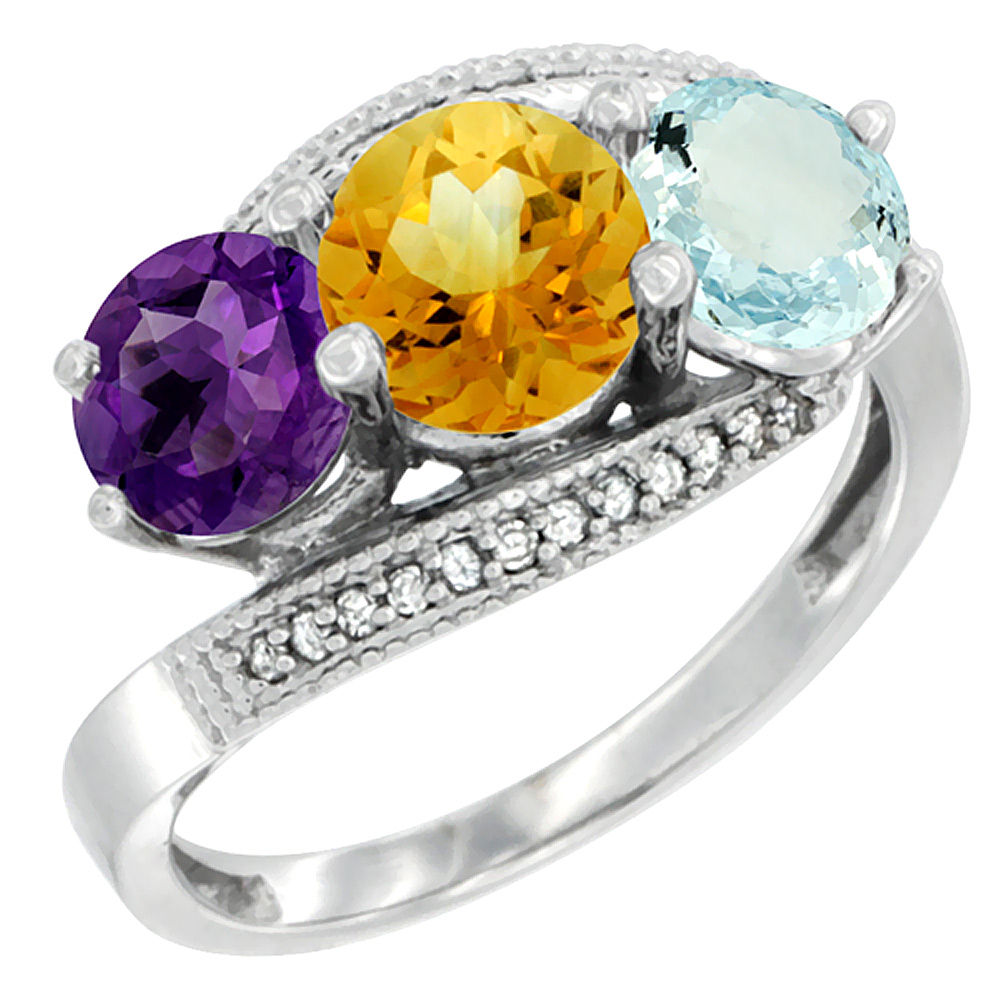10K White Gold Natural Amethyst, Citrine & Aquamarine 3 stone Ring Round 6mm Diamond Accent, sizes 5 - 10