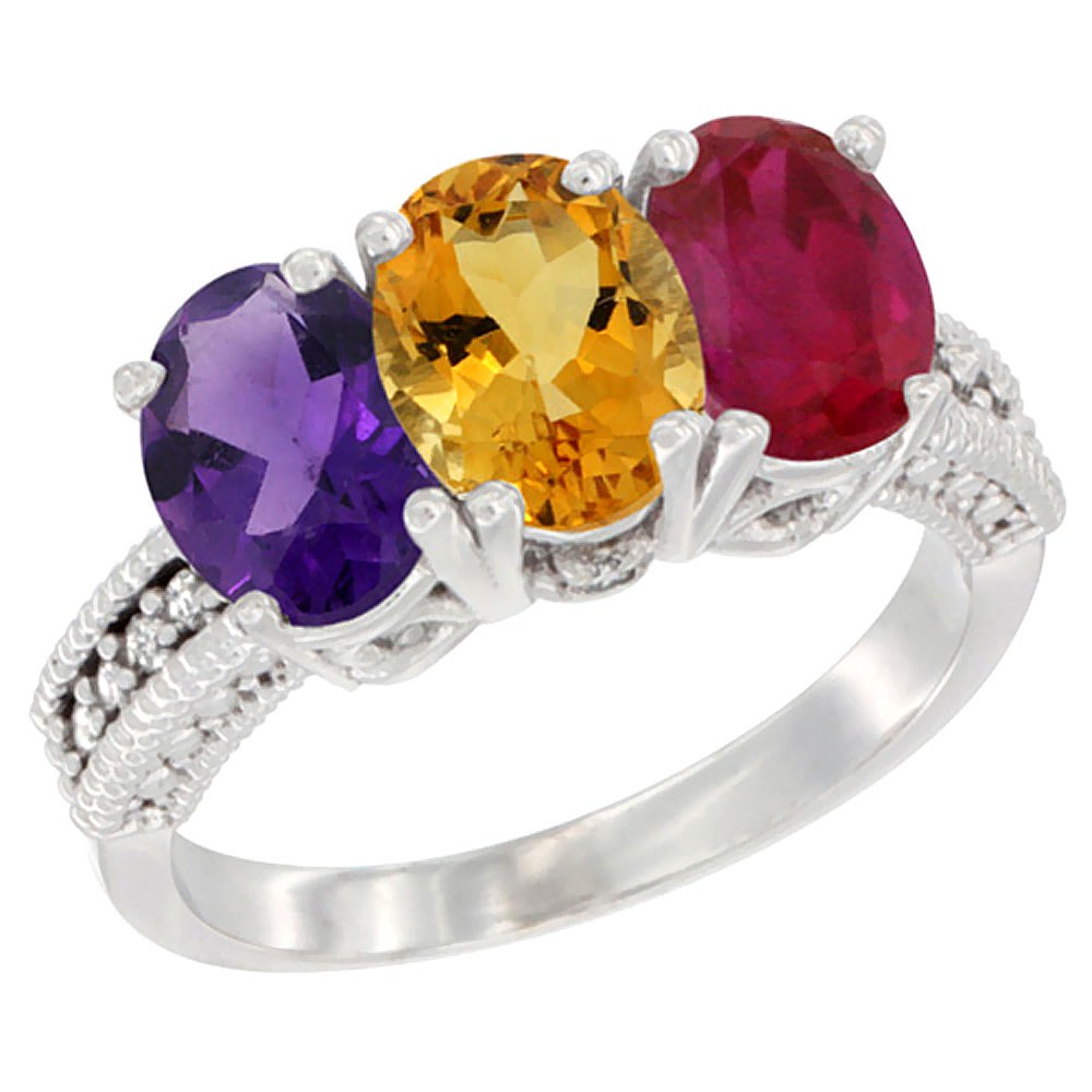 14K White Gold Natural Amethyst, Citrine & Enhanced Ruby Ring 3-Stone 7x5 mm Oval Diamond Accent, sizes 5 - 10