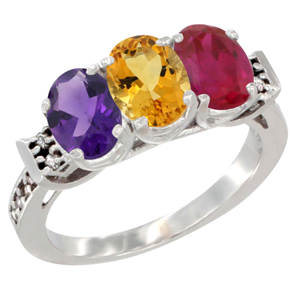 10K White Gold Natural Amethyst, Citrine & Enhanced Ruby Ring 3-Stone Oval 7x5 mm Diamond Accent, sizes 5 - 10