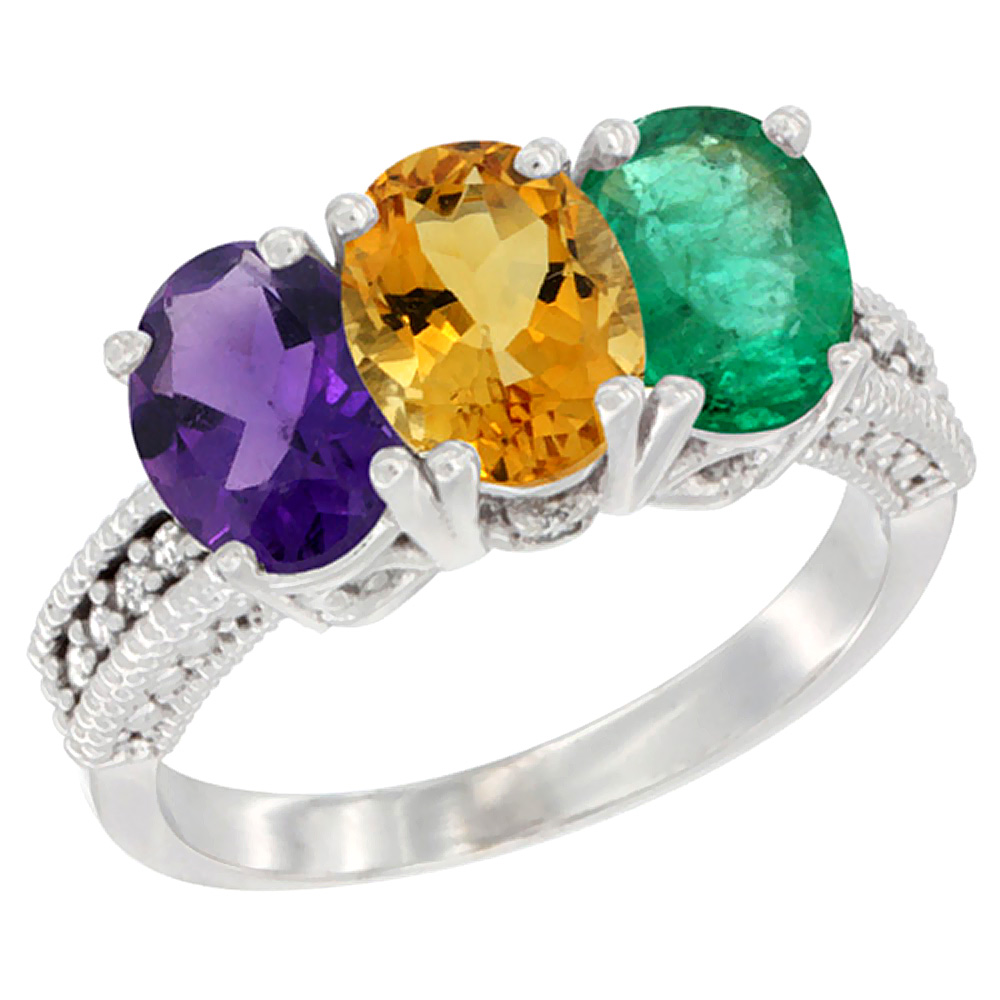 10K White Gold Natural Amethyst, Citrine & Emerald Ring 3-Stone Oval 7x5 mm Diamond Accent, sizes 5 - 10