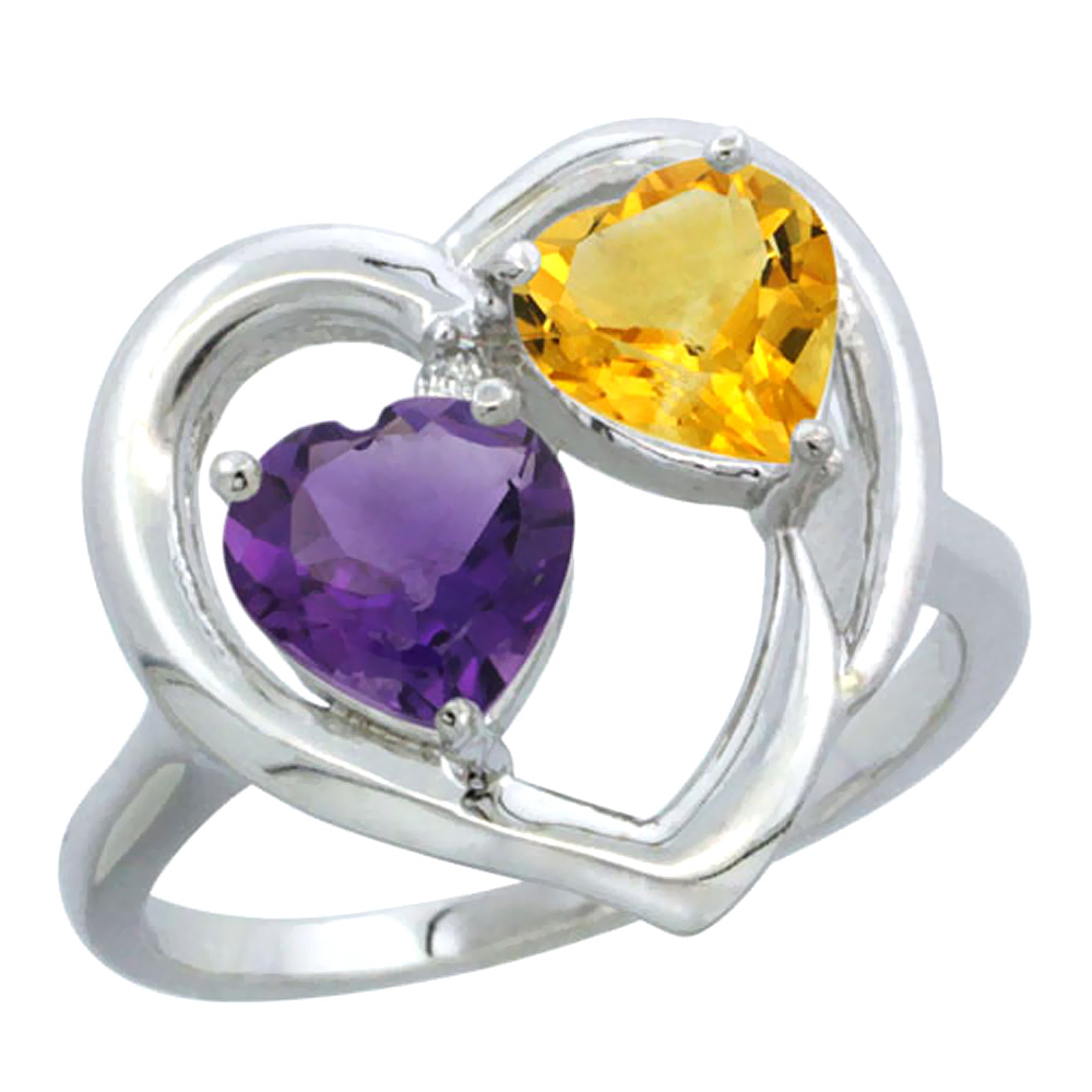 14K White Gold Diamond Two-stone Heart Ring 6mm Natural Amethyst & Citrine, sizes 5-10