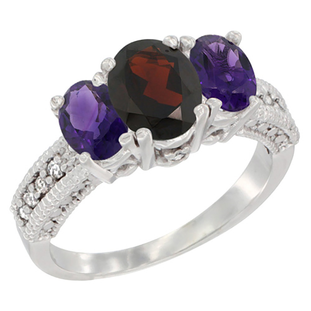 14k Yellow Gold Ladies Oval Natural Garnet 3-Stone Ring with Amethyst Sides Diamond Accent