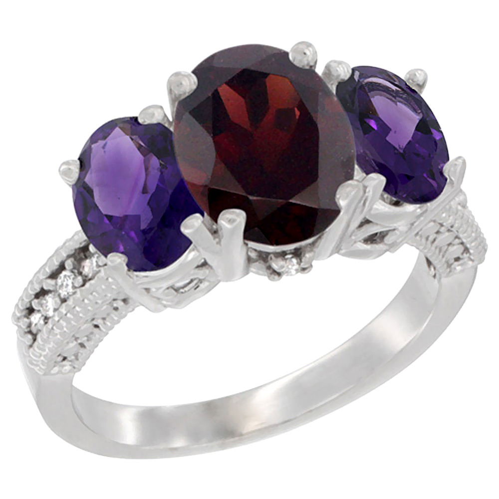 10K White Gold Diamond Natural Garnet Ring 3-Stone Oval 8x6mm with Amethyst, sizes5-10