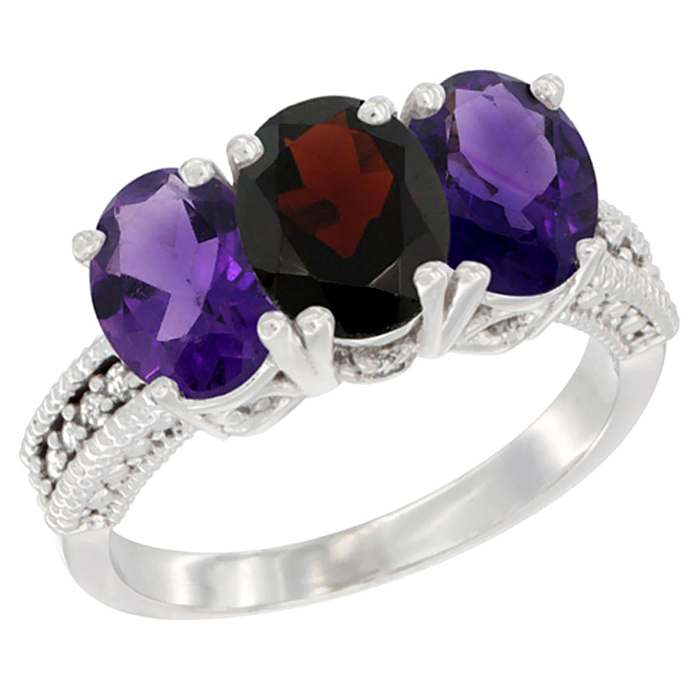 14K White Gold Natural Garnet & Amethyst Ring 3-Stone 7x5 mm Oval Diamond Accent, sizes 5 - 10
