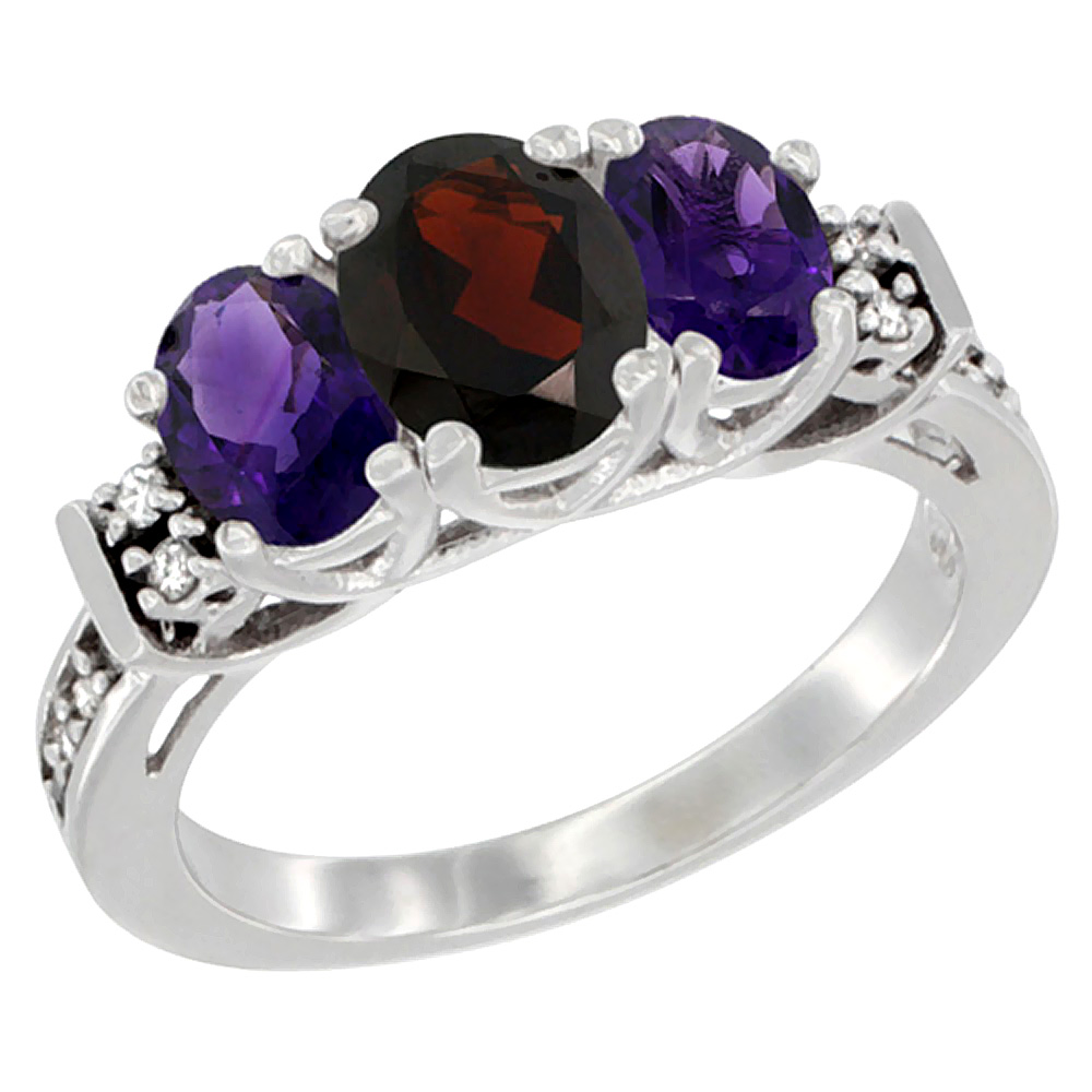 14K White Gold Natural Garnet & Amethyst Ring 3-Stone Oval Diamond Accent, sizes 5-10