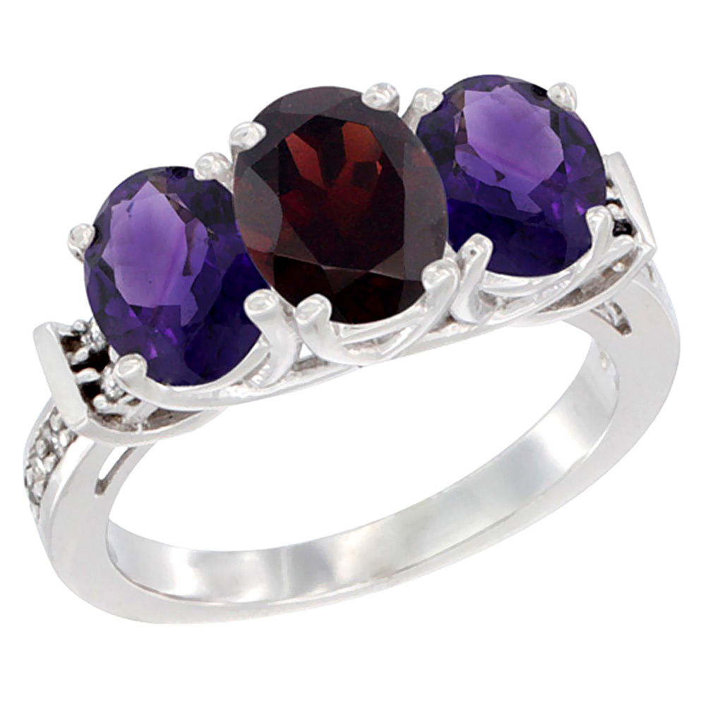 14K White Gold Natural Garnet & Amethyst Sides Ring 3-Stone Oval Diamond Accent, sizes 5 - 10