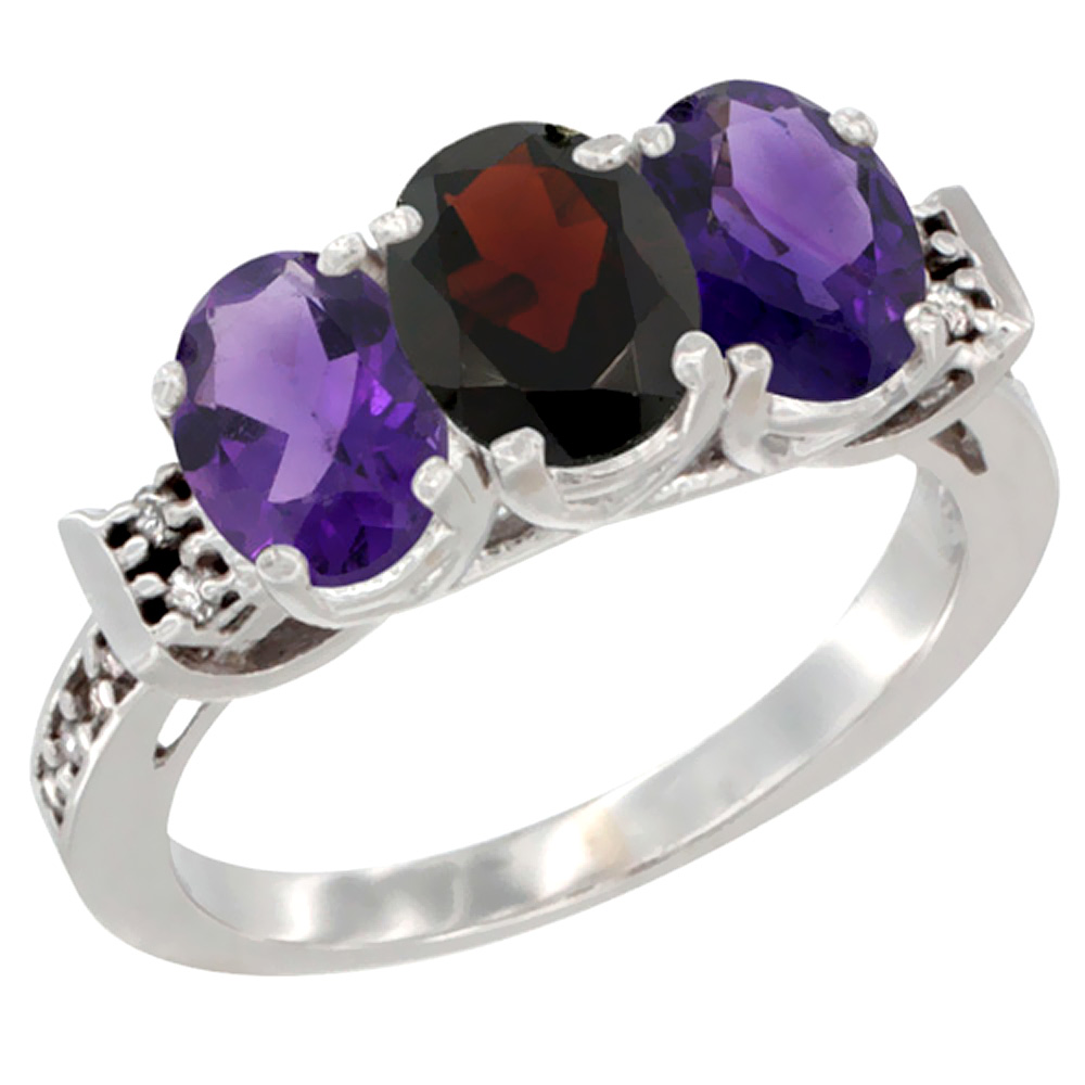 14K White Gold Natural Garnet & Amethyst Sides Ring 3-Stone 7x5 mm Oval Diamond Accent, sizes 5 - 10