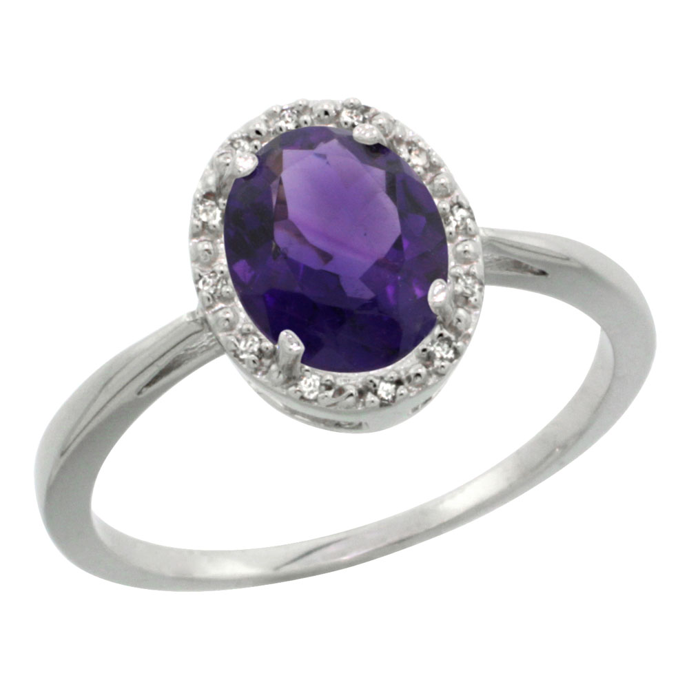 10K White Gold Natural Amethyst Diamond Halo Ring Oval 8X6mm, sizes 5-10