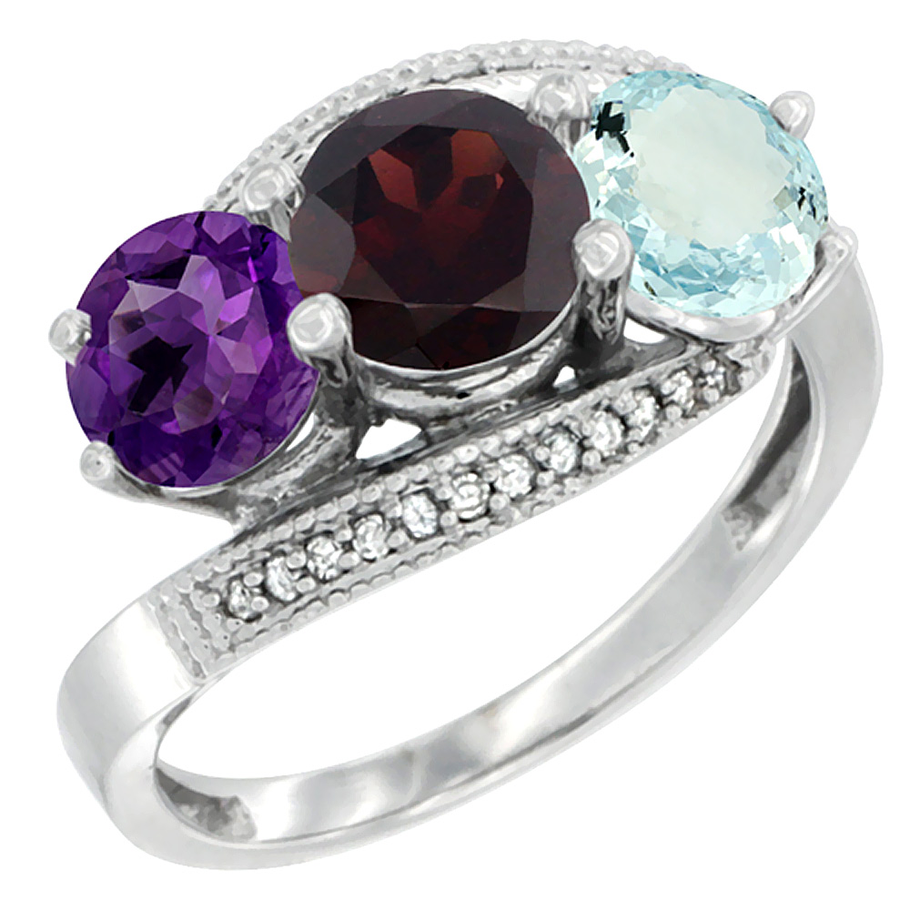 14K White Gold Natural Amethyst, Garnet & Aquamarine 3 stone Ring Round 6mm Diamond Accent, sizes 5 - 10