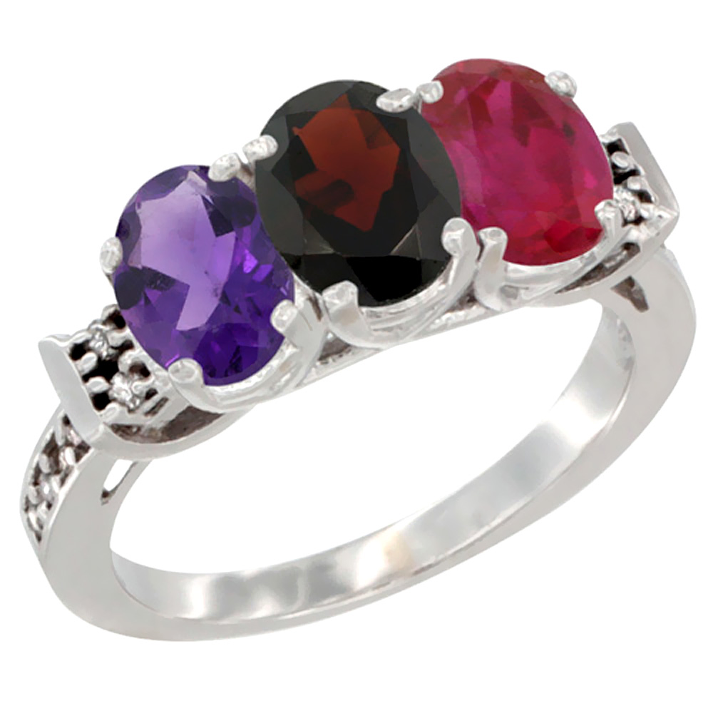 14K White Gold Natural Amethyst, Garnet & Enhanced Ruby Ring 3-Stone 7x5 mm Oval Diamond Accent, sizes 5 - 10