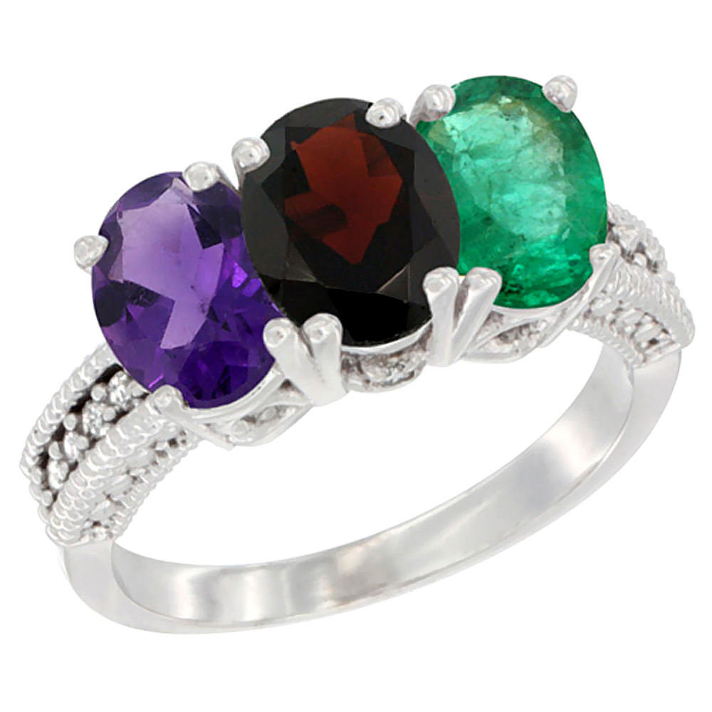 14K White Gold Natural Amethyst, Garnet & Emerald Ring 3-Stone 7x5 mm Oval Diamond Accent, sizes 5 - 10
