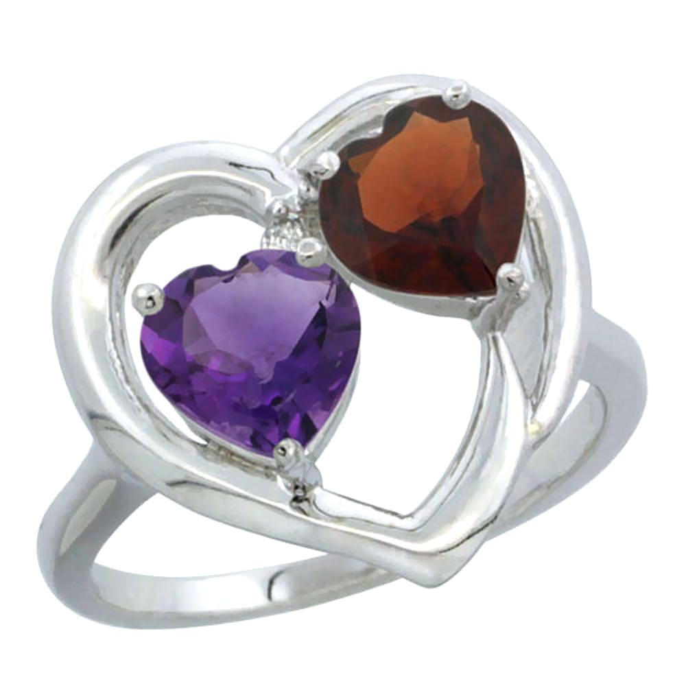 14K White Gold Diamond Two-stone Heart Ring 6mm Natural Amethyst & Garnet, sizes 5-10