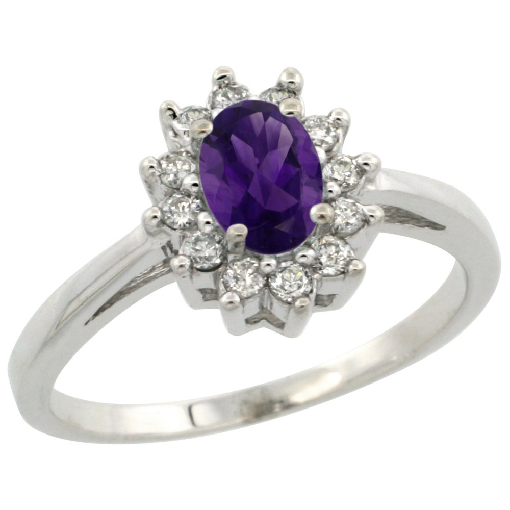 14K White Gold Natural Amethyst Flower Diamond Halo Ring Oval 6x4 mm, sizes 5-10