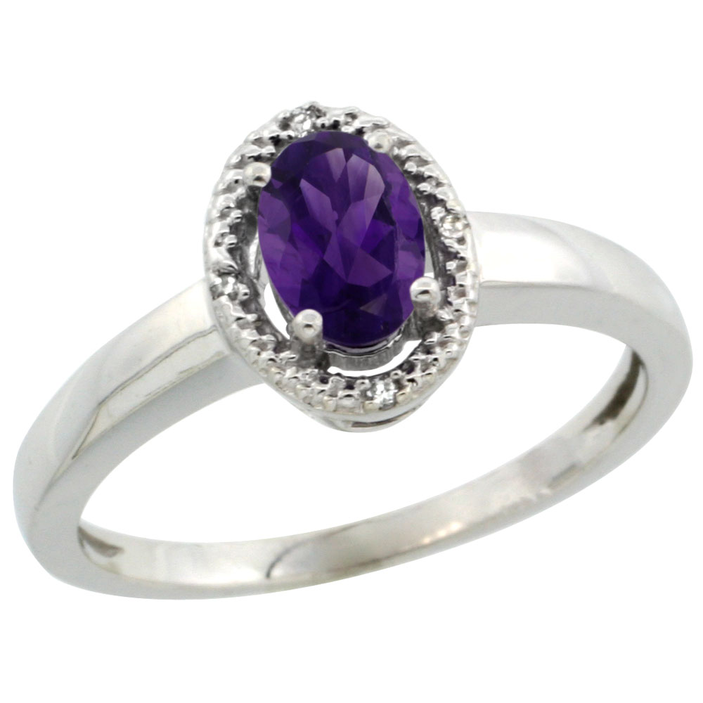 14K White Gold Diamond Halo Natural Amethyst Engagement Ring Oval 6X4 mm, sizes 5-10