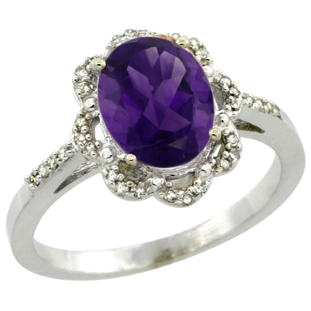 14K White Gold Diamond Halo Natural Amethyst Engagement Ring Oval 9x7mm, sizes 5-10