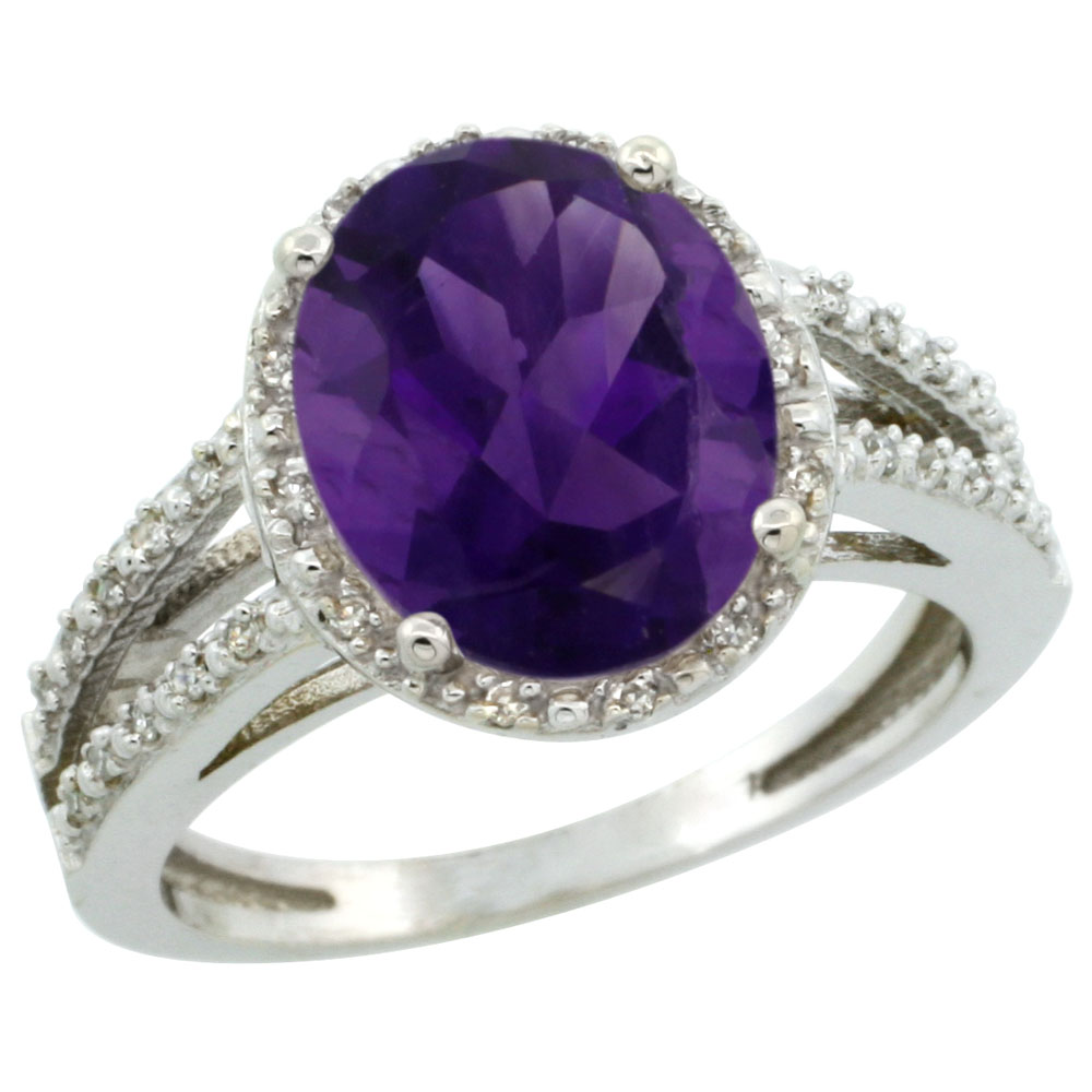 14K White Gold Natural Amethyst Diamond Halo Ring Oval 11x9mm, sizes 5-10