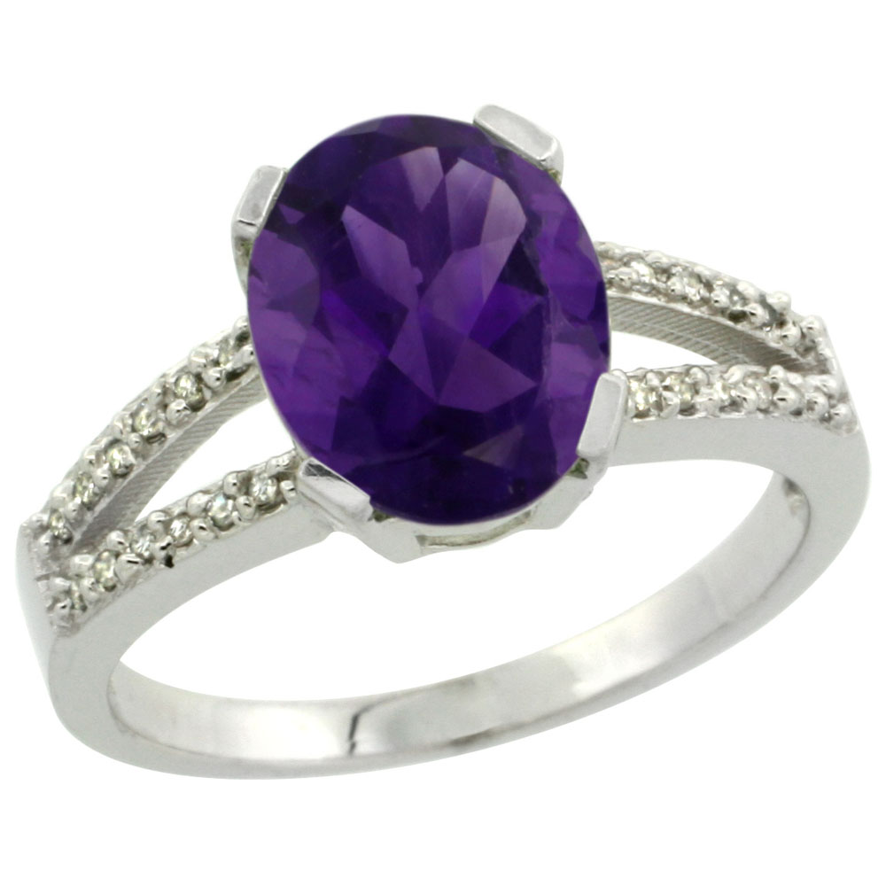 14K White Gold Diamond Natural Amethyst Engagement Ring Oval 10x8mm, sizes 5-10