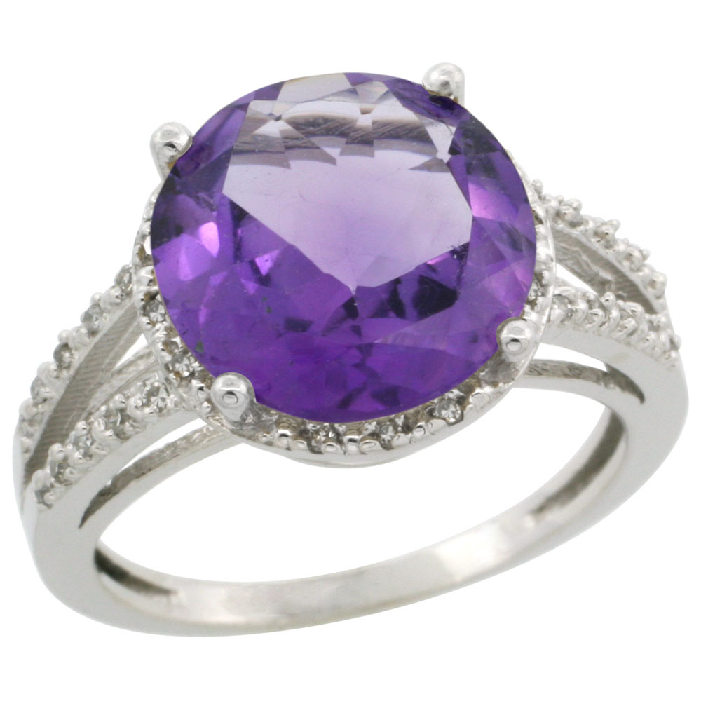 14K White Gold Diamond Natural Amethyst Ring Round 11mm, sizes 5-10