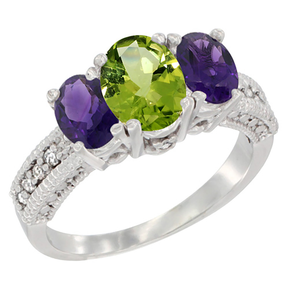 10K White Gold Diamond Natural Peridot Ring Oval 3-stone with Amethyst, sizes 5 - 10