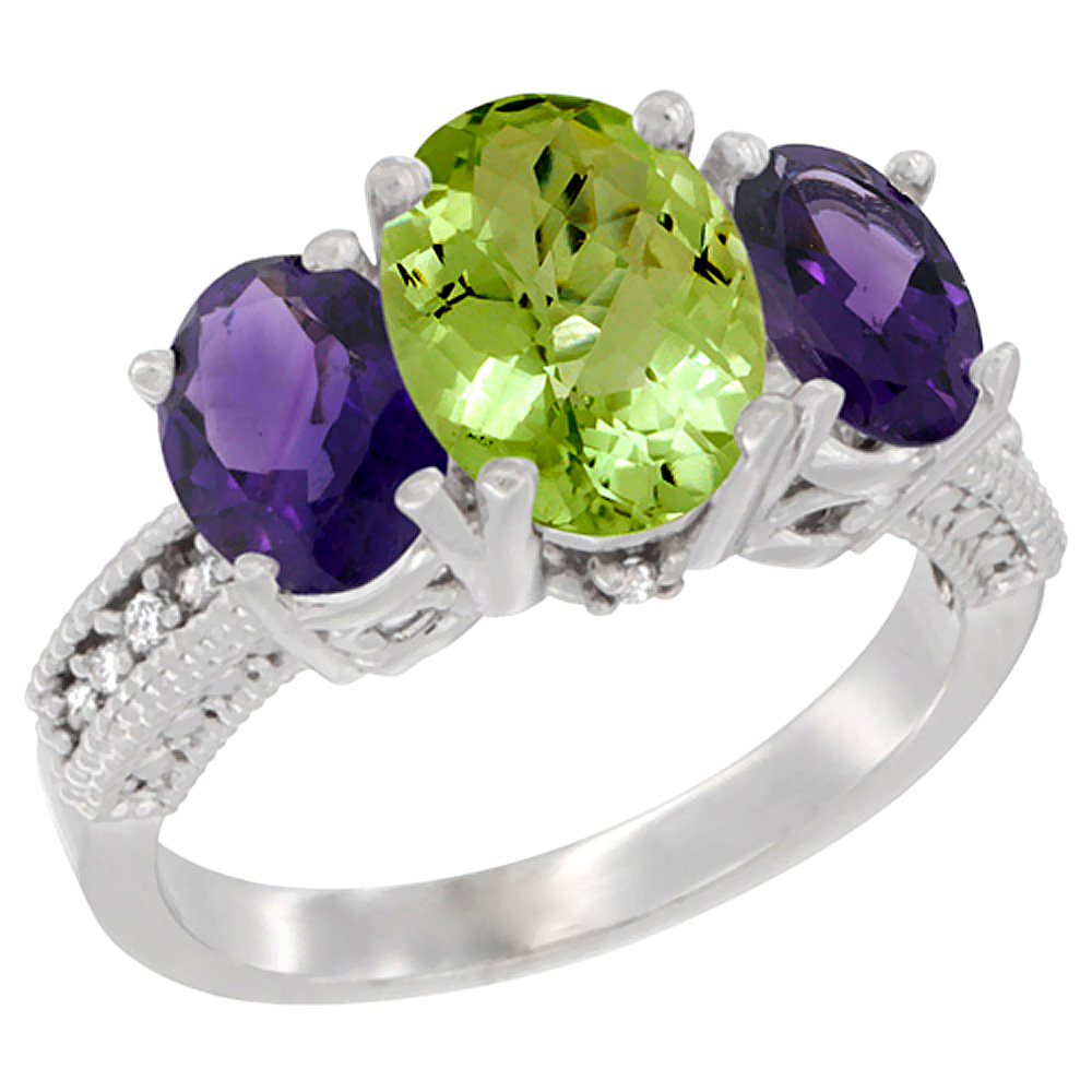 10K White Gold Natural Peridot Ring Ladies 3-Stone Oval 8x6mm with Amethyst Sides Diamond Accent, sizes 5 - 10