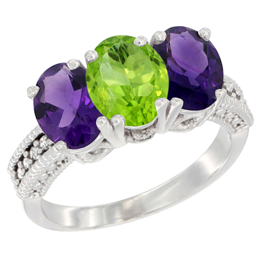 10K White Gold Natural Peridot & Amethyst Sides Ring 3-Stone Oval 7x5 mm Diamond Accent, sizes 5 - 10