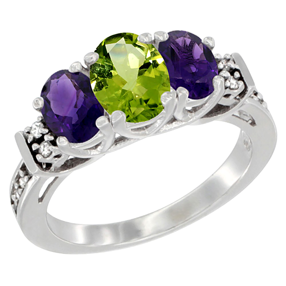 14K White Gold Natural Peridot & Amethyst Ring 3-Stone Oval Diamond Accent, sizes 5-10