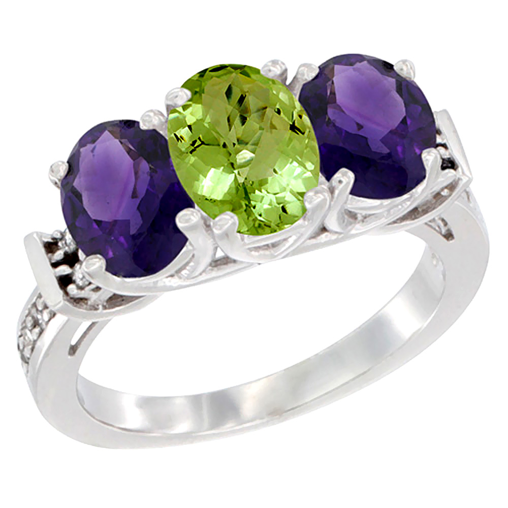 14K White Gold Natural Peridot & Amethyst Sides Ring 3-Stone Oval Diamond Accent, sizes 5 - 10