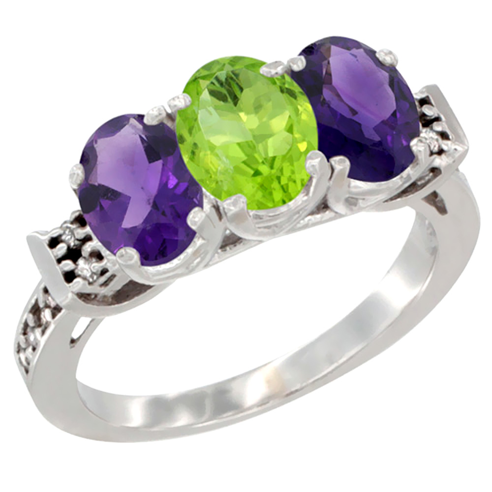 14K White Gold Natural Peridot & Amethyst Sides Ring 3-Stone 7x5 mm Oval Diamond Accent, sizes 5 - 10