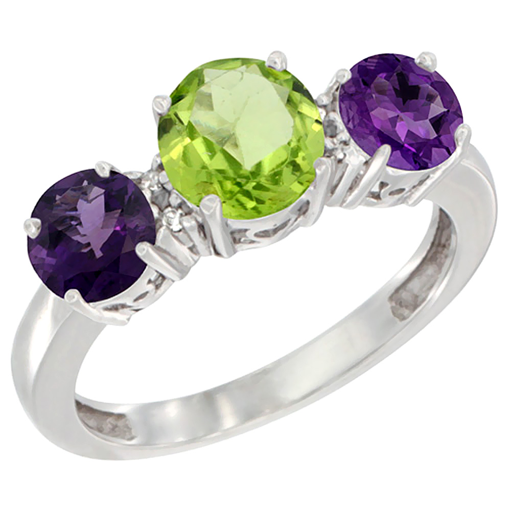 14K White Gold Round 3-Stone Natural Peridot Ring & Amethyst Sides Diamond Accent, sizes 5 - 10