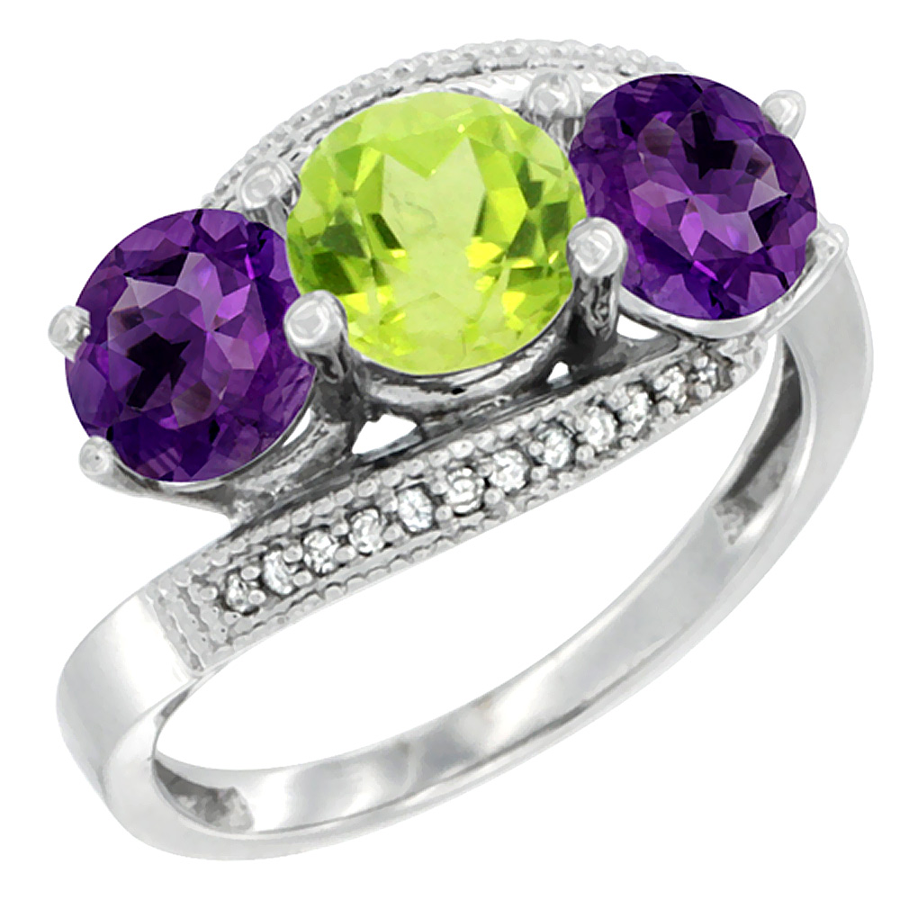14K White Gold Natural Peridot & Amethyst Sides 3 stone Ring Round 6mm Diamond Accent, sizes 5 - 10