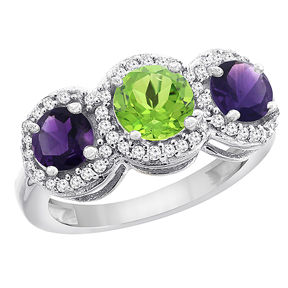 10K White Gold Natural Peridot & Amethyst Sides Round 3-stone Ring Diamond Accents, sizes 5 - 10
