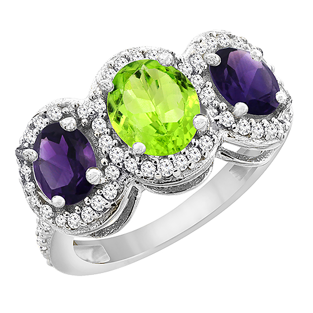 14K White Gold Natural Peridot & Amethyst 3-Stone Ring Oval Diamond Accent, sizes 5 - 10
