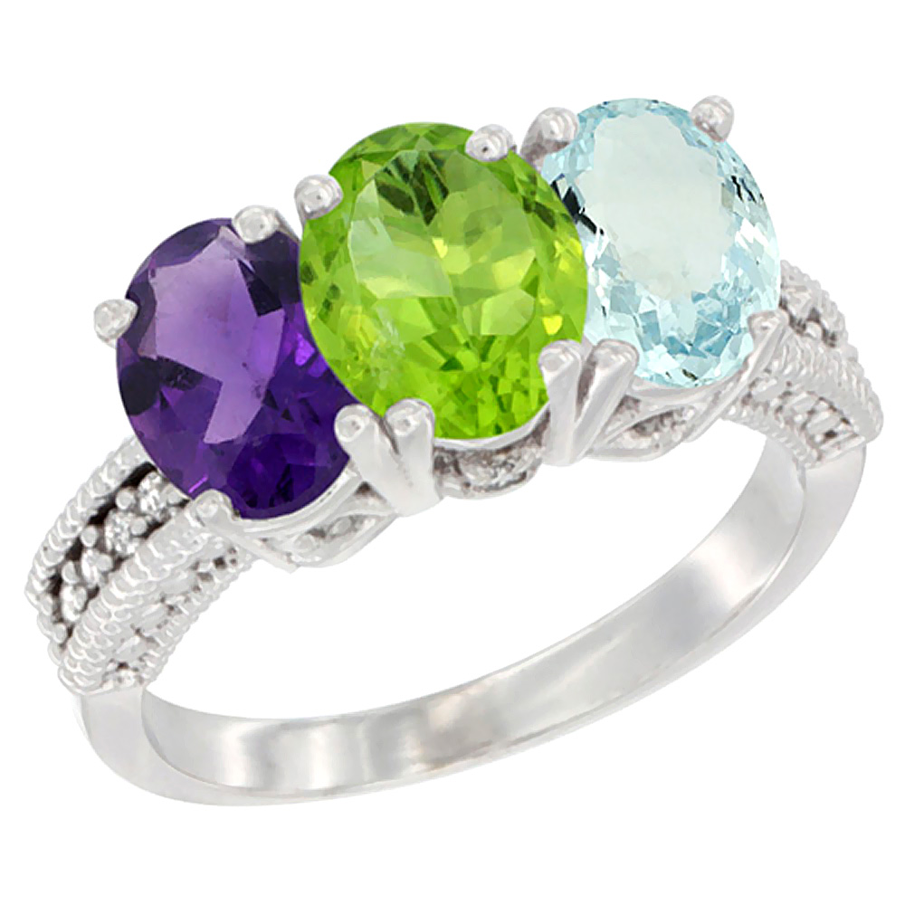 14K White Gold Natural Amethyst, Peridot & Aquamarine Ring 3-Stone 7x5 mm Oval Diamond Accent, sizes 5 - 10
