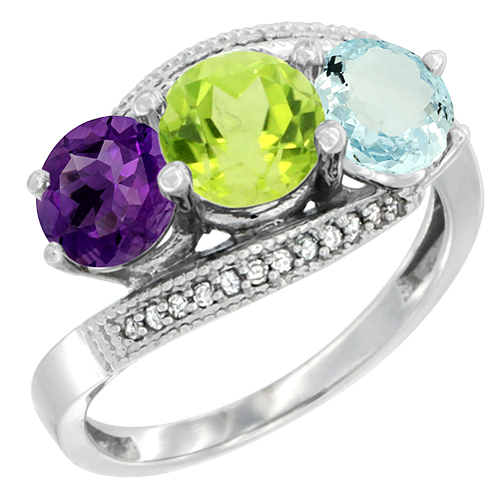 14K White Gold Natural Amethyst, Peridot & Aquamarine 3 stone Ring Round 6mm Diamond Accent, sizes 5 - 10