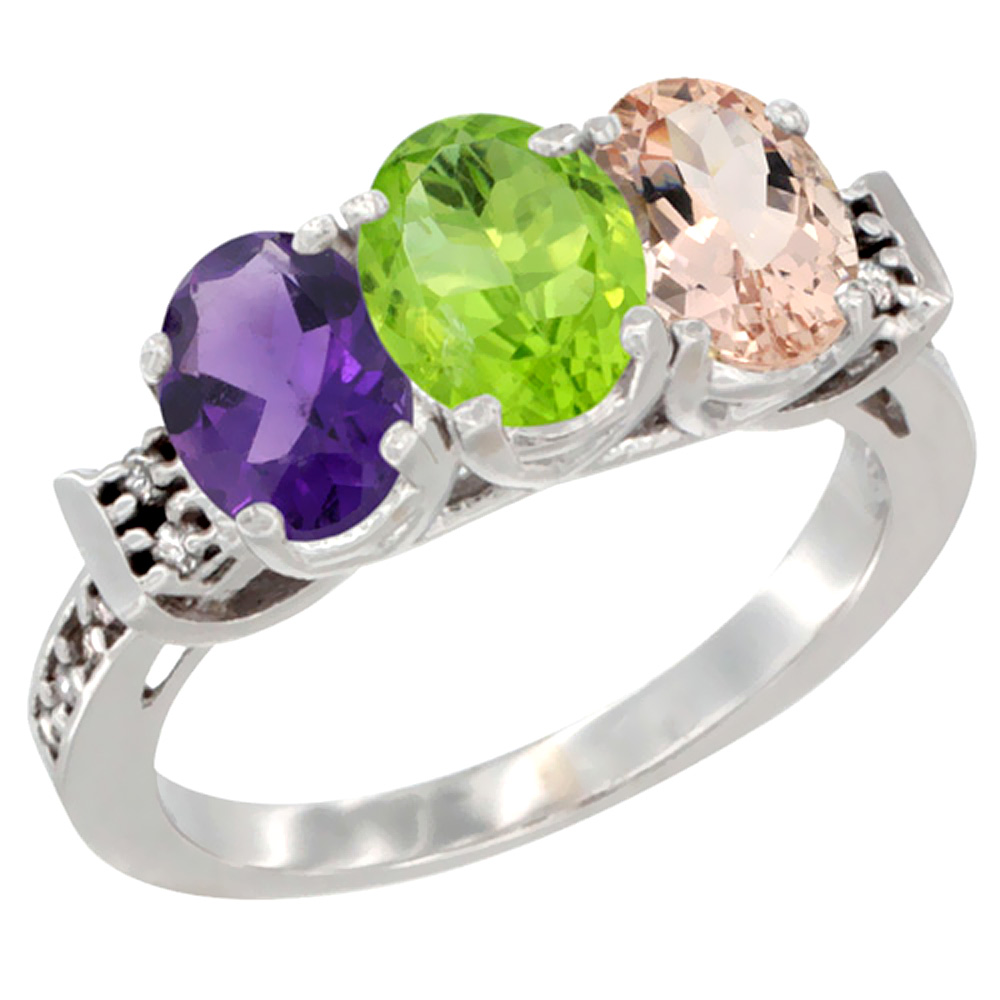14K White Gold Natural Amethyst, Peridot & Morganite Ring 3-Stone 7x5 mm Oval Diamond Accent, sizes 5 - 10