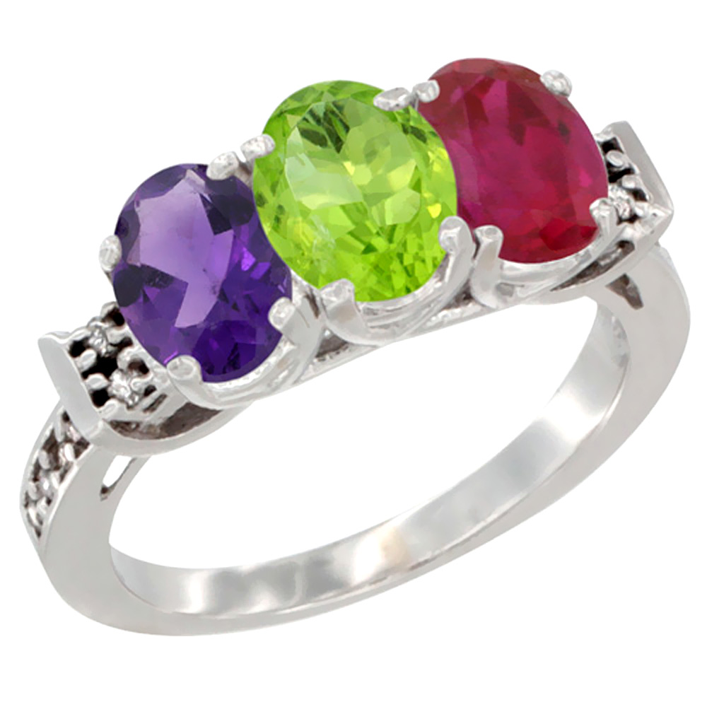 14K White Gold Natural Amethyst, Peridot & Enhanced Ruby Ring 3-Stone 7x5 mm Oval Diamond Accent, sizes 5 - 10