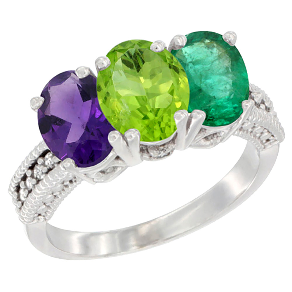 14K White Gold Natural Amethyst, Peridot & Emerald Ring 3-Stone 7x5 mm Oval Diamond Accent, sizes 5 - 10