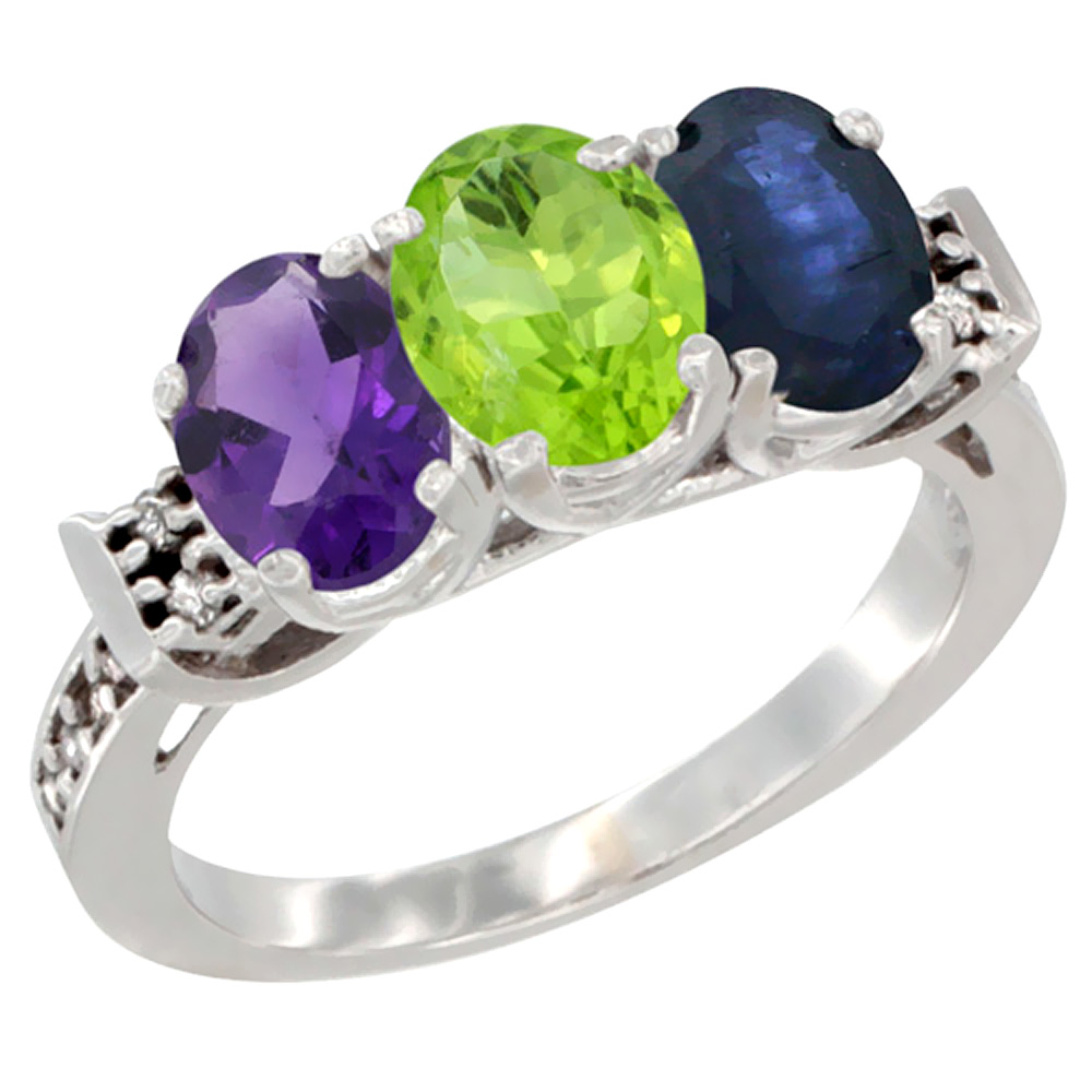 10K White Gold Natural Amethyst, Peridot & Blue Sapphire Ring 3-Stone Oval 7x5 mm Diamond Accent, sizes 5 - 10