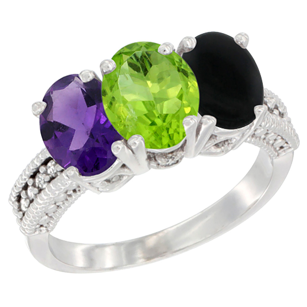 10K White Gold Natural Amethyst, Peridot & Black Onyx Ring 3-Stone Oval 7x5 mm Diamond Accent, sizes 5 - 10