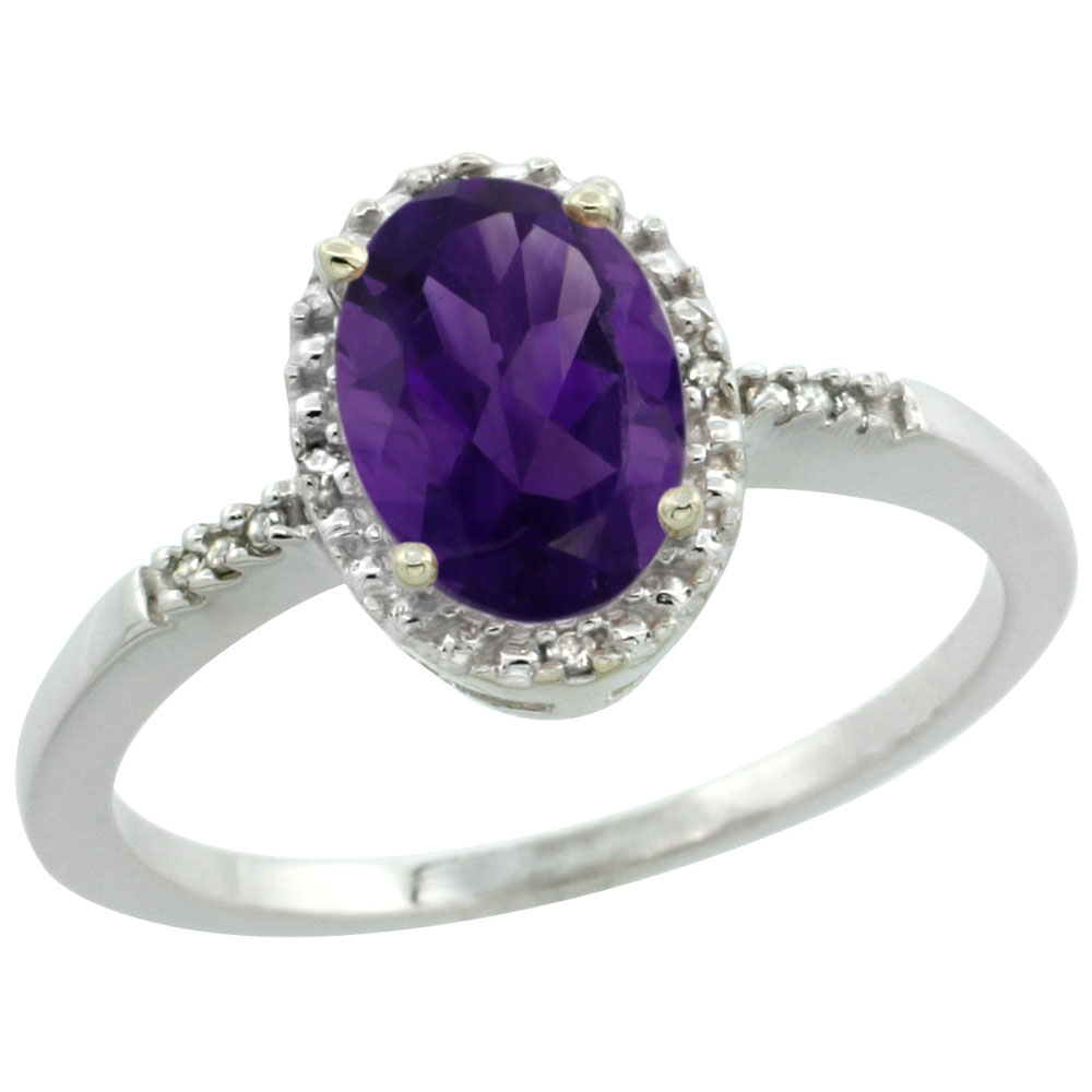 10K White Gold Diamond Natural Amethyst Ring Oval 8x6mm, sizes 5-10