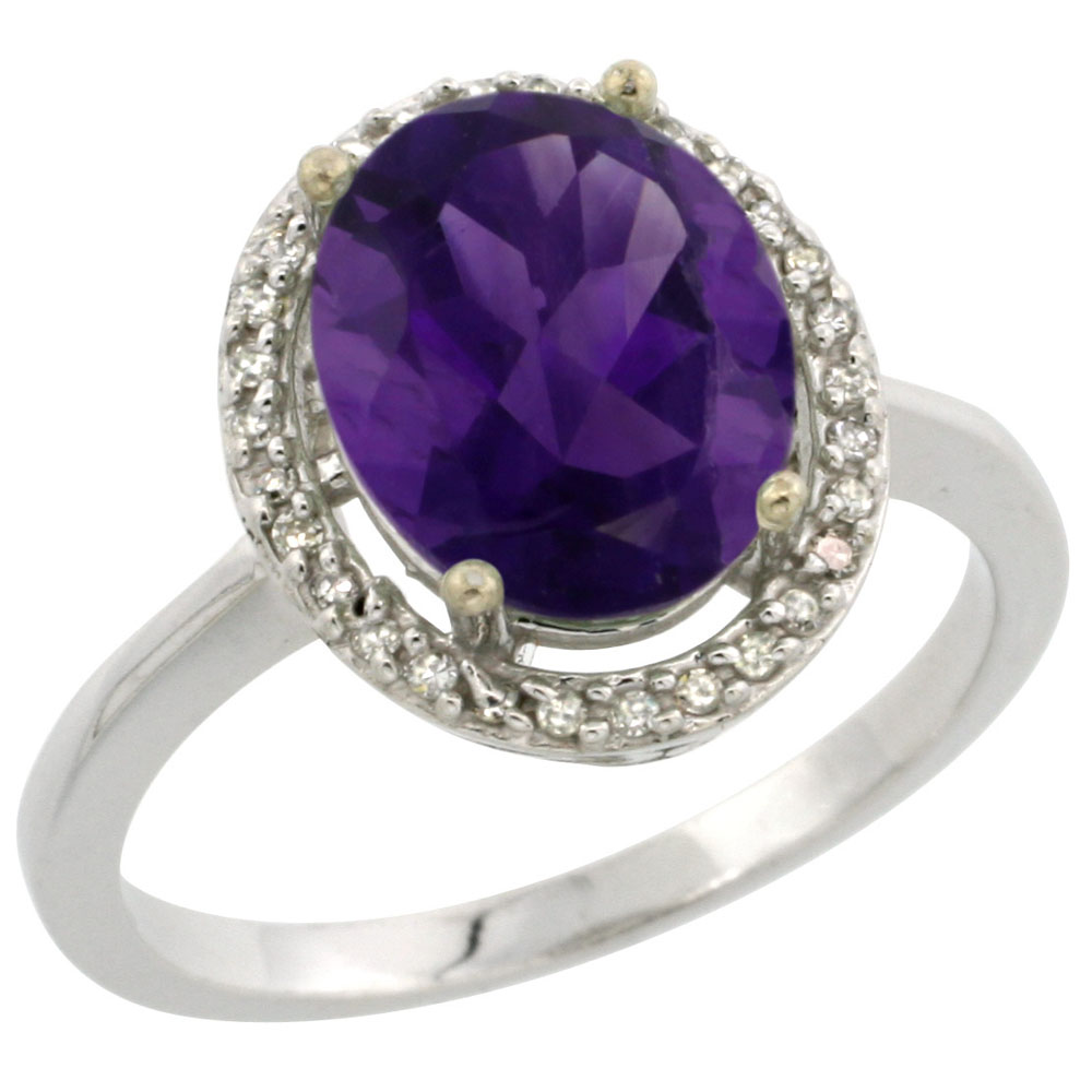 10K White Gold Diamond Natural Amethyst Engagement Ring Oval 10x8mm, sizes 5-10