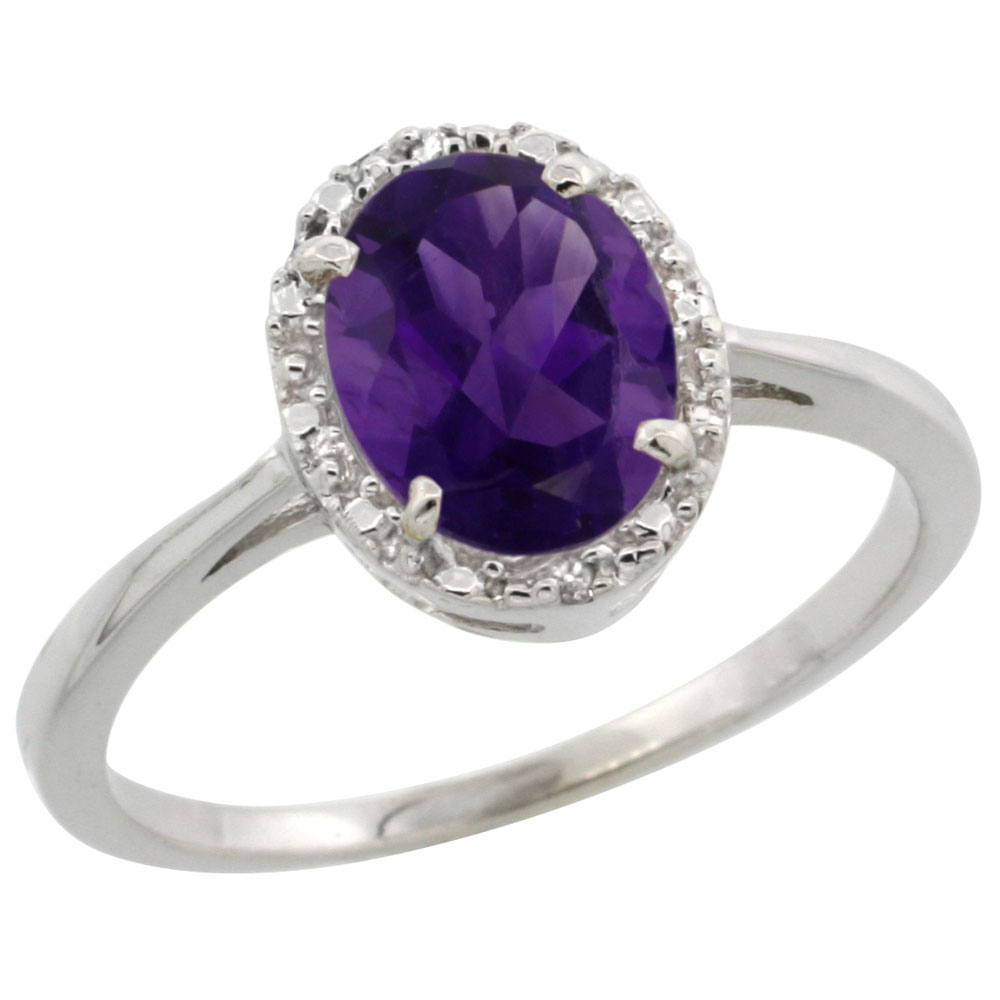 10k White Gold Natural Amethyst Ring Oval 8x6 mm Diamond Halo, sizes 5-10